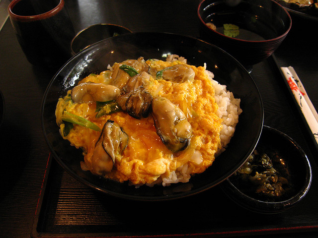 oyster rice bowl donburi