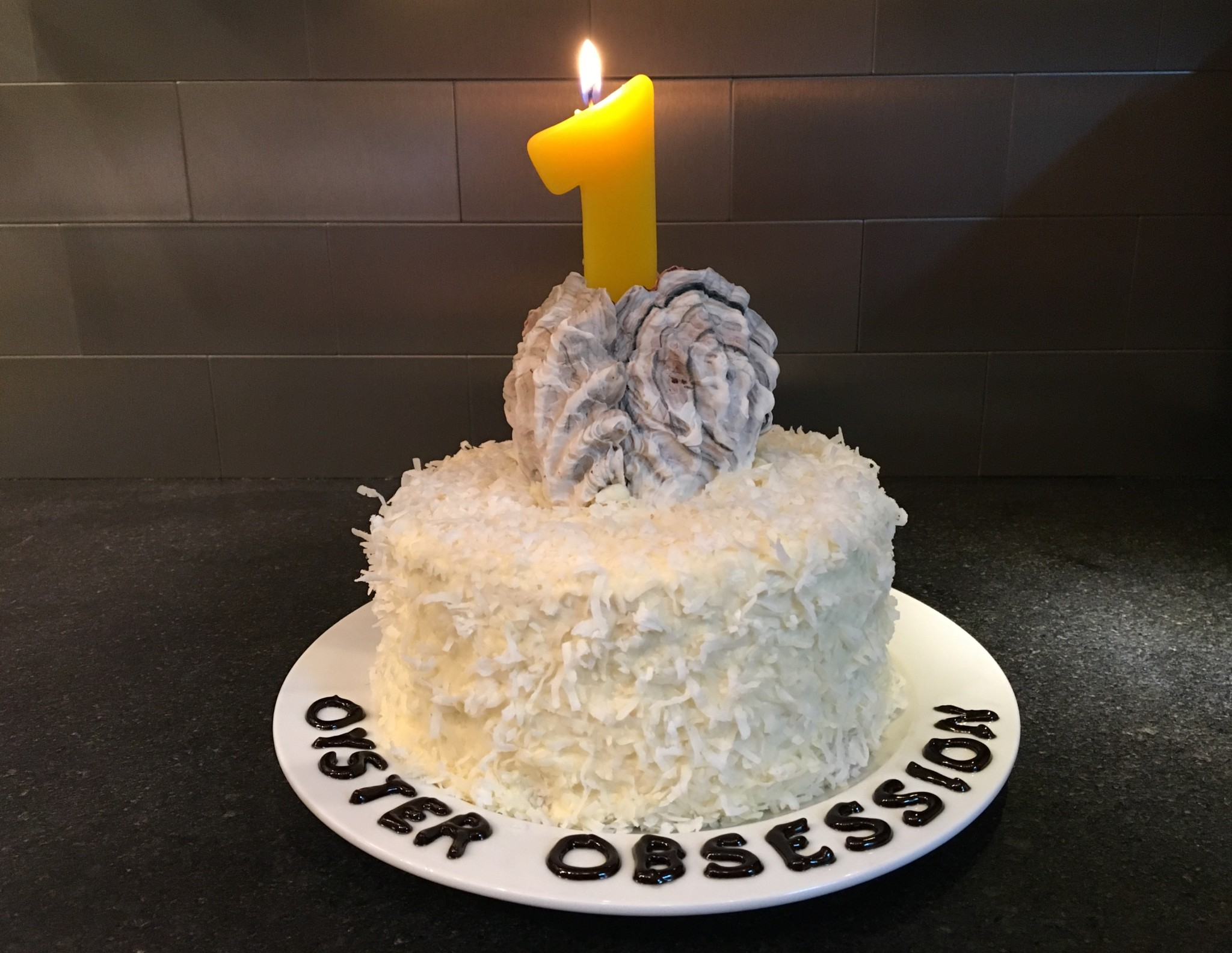 Oyster Obsession birthday cake with edible chocolate oyster shells
