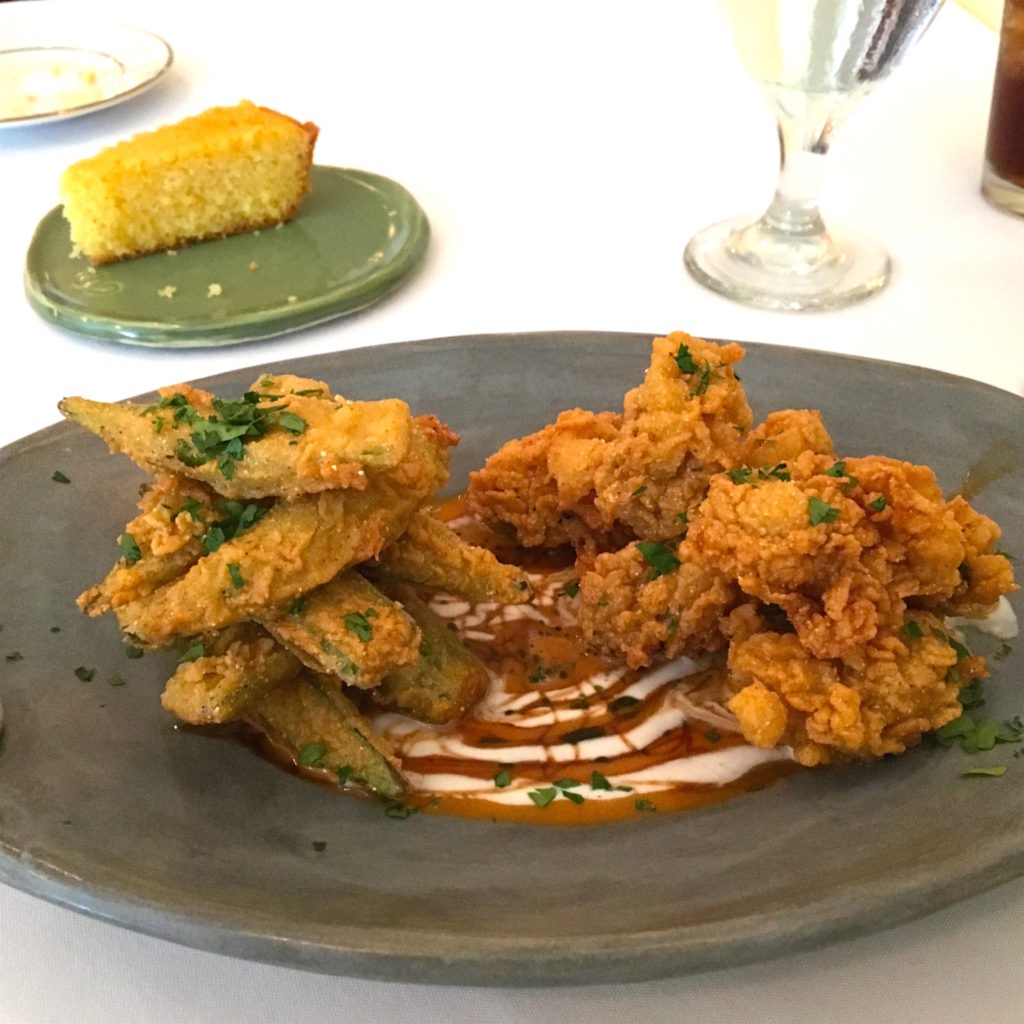 fried oysters and okra